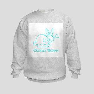 Teal Cuddle Bunny Kids Sweatshirt