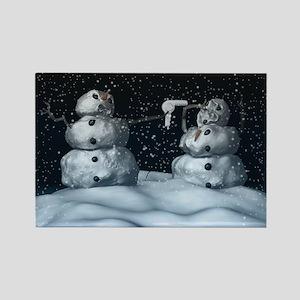 Mean Snowman Rectangle Magnet
