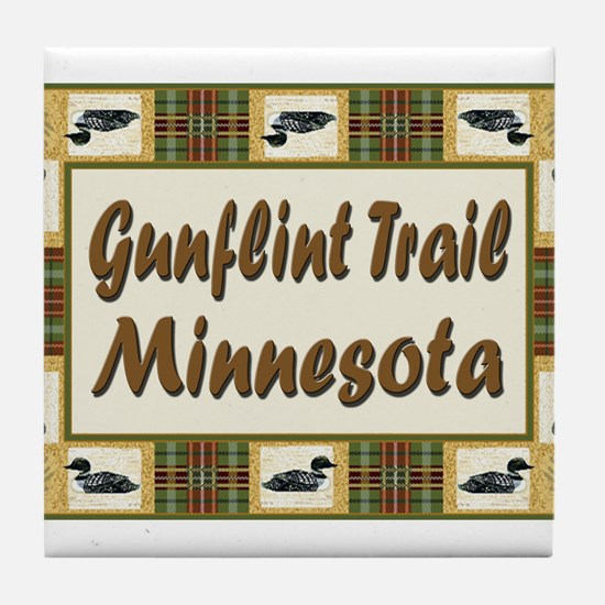 Gunflint Trail Minnesota Loon Tile Coaster