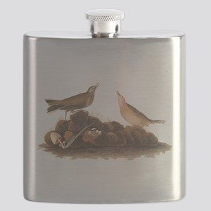 Brown Lark Audubon Birds of America Vintage Flask