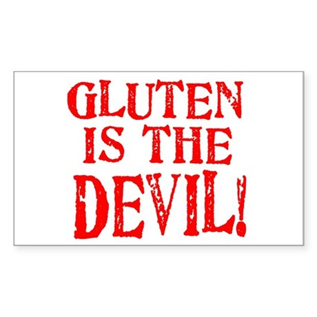 Gluten Is The Devil Rectangle Sticker