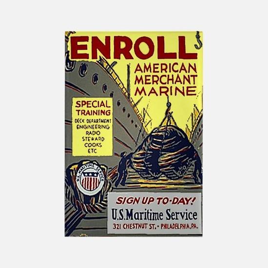 Enroll in the Merchant Marine Rectangle Magnet