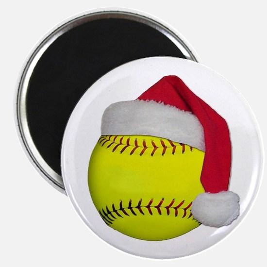 """Softball Santa 2.25"""" Magnet (10 pack)"""