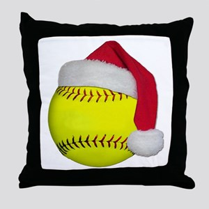 Softball Santa Throw Pillow