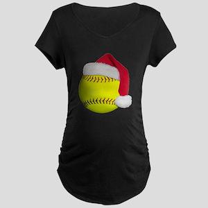 Softball Santa Maternity Dark T-Shirt