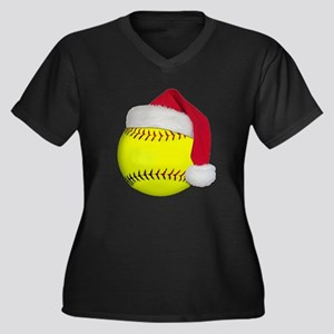 Softball Santa Women's Plus Size V-Neck Dark T-Shi