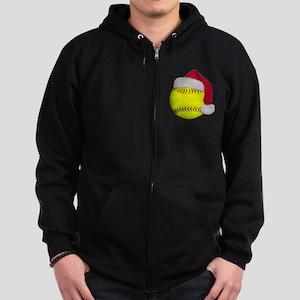 Softball Santa Zip Hoodie (dark)