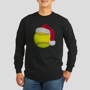Softball Santa Long Sleeve Dark T-Shirt