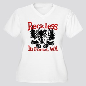Reckless in Forks Women's Plus Size V-Neck T-Shirt