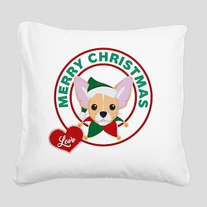 Chihuahua Christmas Square Canvas Pillow