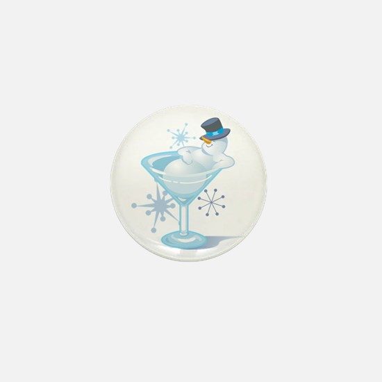 Snowman Martini Mini Button