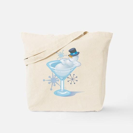Snowman Martini Tote Bag