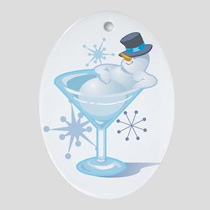 Snowman Martini Oval Ornament