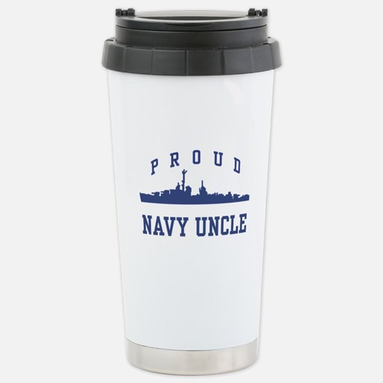 Proud Navy Uncle Stainless Steel Travel Mug