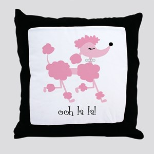 ooh la la poodle Throw Pillow