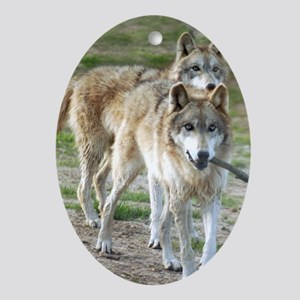 Grey Wolves 3 Oval Ornament