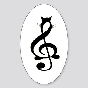 Jazz Cat Oval Sticker