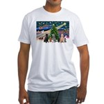 XmasMagic-6 Poodles Fitted T-Shirt