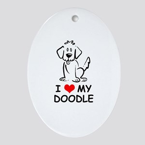 I Love My Doodle Ornament (Oval)