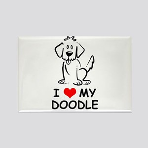I Love My Doodle Rectangle Magnet