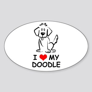 I Love My Doodle Sticker (Oval)