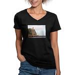 Split Rock Lighthouse Women's V-Neck Dark T-Shirt