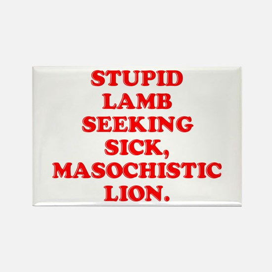 Lamb Seeks Lion Rectangle Magnet