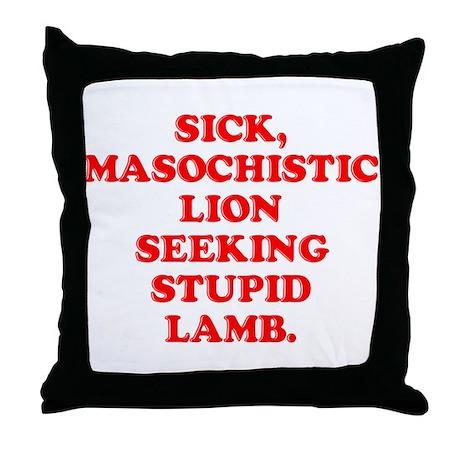 Lion Seeks Lamb Throw Pillow