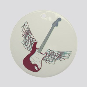 Vintage Winged Guitar Ornament (Round)