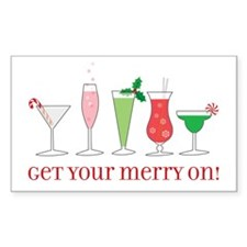 get your merry on. Rectangle Sticker