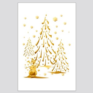 Gold Snowman and Christmas Tr Large Poster
