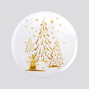 "Gold Snowman and Christmas Tr 3.5"" Button"