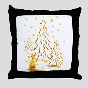 Gold Snowman and Christmas Tr Throw Pillow