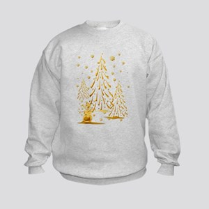 Gold Snowman and Christmas Tr Kids Sweatshirt
