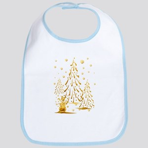 Gold Snowman and Christmas Tr Bib