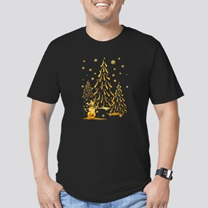 Gold Snowman and Christmas Tr Men's Fitted T-Shirt