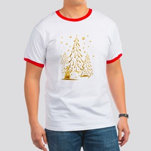 Gold Snowman and Christmas Tr Ringer T