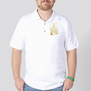 Gold Snowman and Christmas Tr Golf Shirt