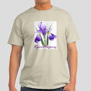 Ash Grey T-shirt w/iris, URL, slogan
