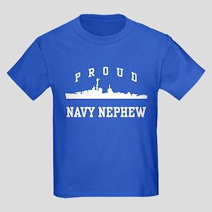 Proud Navy Nephew Kids Dark T-Shirt