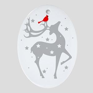 Winter Reindeer Oval Ornament