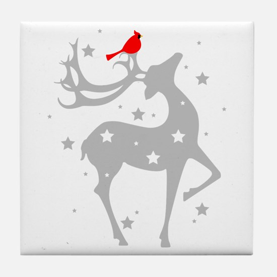 Winter Reindeer Tile Coaster