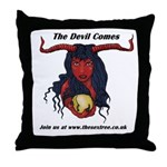 the devil comes Throw Pillow
