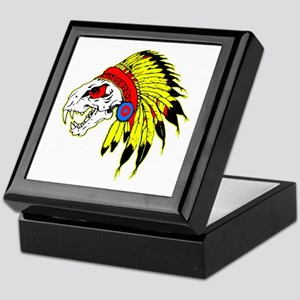 Skull Indian Headdress Keepsake Box