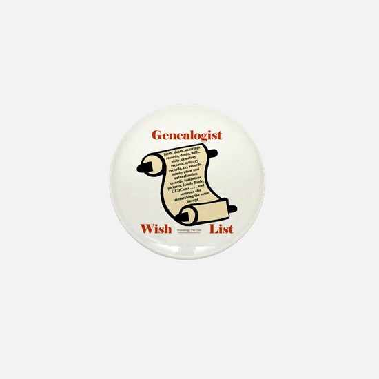 Genealogy Wish List Mini Button