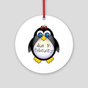 February Penguin Maternity Ornament (Round)