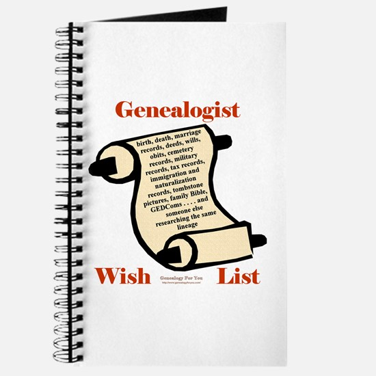 Genealogy Wish List Journal