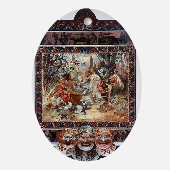 Alphonse Mucha Oval Ornament