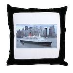 QE2 New York Final Departure Throw Pillow