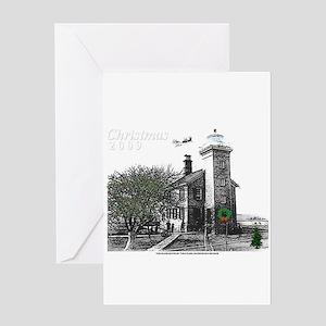 Turtle Island Lighthouse Christmas Greeting Card